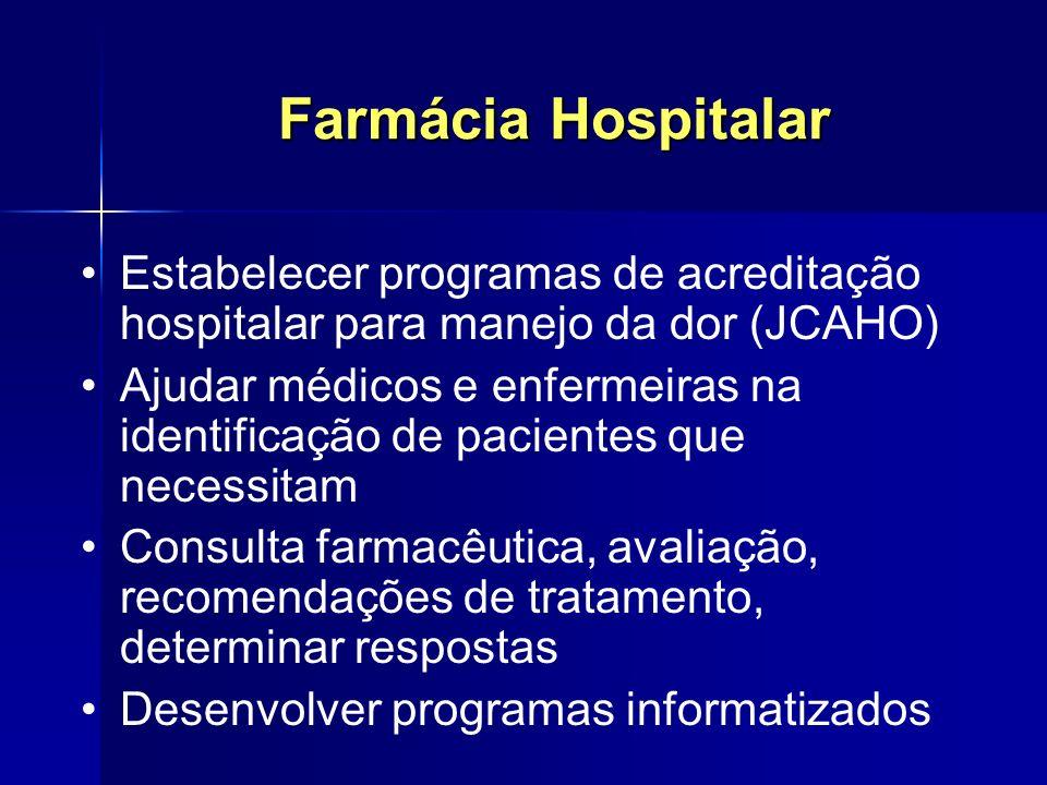 Farmácia Hospitalar Estabelecer programas de acreditação hospitalar para manejo da dor (JCAHO) Ajudar médicos e enfermeiras na identificação de pacien
