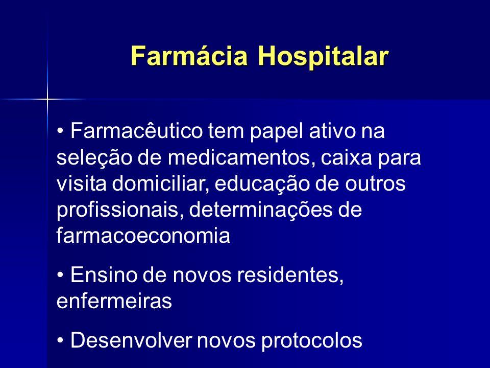 Farmácia Hospitalar Farmacêutico tem papel ativo na seleção de medicamentos, caixa para visita domiciliar, educação de outros profissionais, determina