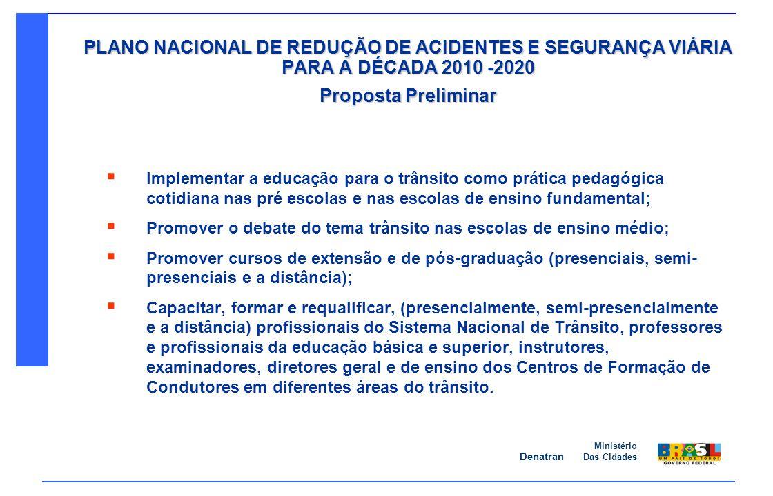 Denatran Ministério Das Cidades PLANO NACIONAL DE REDUÇÃO DE ACIDENTES E SEGURANÇA VIÁRIA PARA A DÉCADA 2010 -2020 Proposta Preliminar Implementar a e