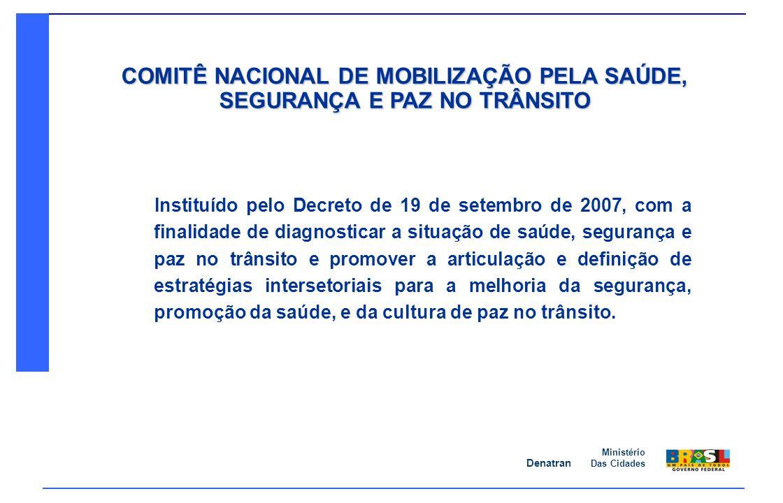 Denatran Ministério Das Cidades Instituído pelo Decreto de 19 de setembro de 2007, com a finalidade de diagnosticar a situação de saúde, segurança e p