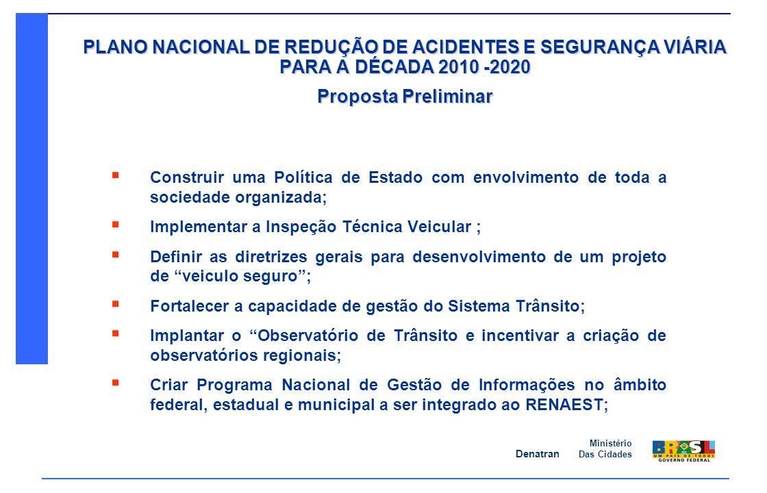 Denatran Ministério Das Cidades PLANO NACIONAL DE REDUÇÃO DE ACIDENTES E SEGURANÇA VIÁRIA PARA A DÉCADA 2010 -2020 Proposta Preliminar Construir uma P