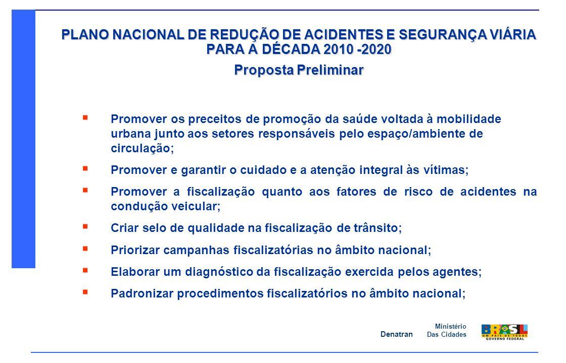Denatran Ministério Das Cidades PLANO NACIONAL DE REDUÇÃO DE ACIDENTES E SEGURANÇA VIÁRIA PARA A DÉCADA 2010 -2020 Proposta Preliminar Promover os pre