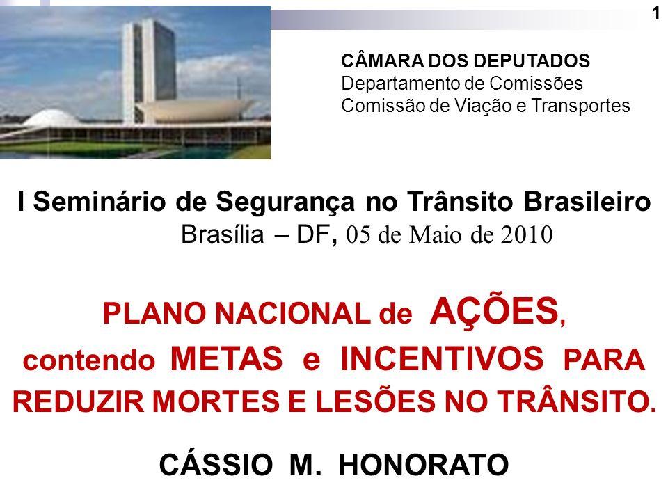 1 CÂMARA DOS DEPUTADOS Departamento de Comissões Comissão de Viação e Transportes I Seminário de Segurança no Trânsito Brasileiro Brasília – DF, 05 de