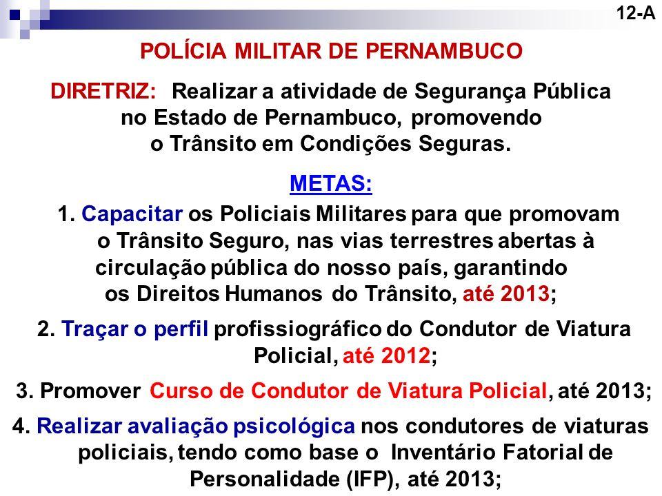12-A POLÍCIA MILITAR DE PERNAMBUCO DIRETRIZ: Realizar a atividade de Segurança Pública no Estado de Pernambuco, promovendo o Trânsito em Condições Seg