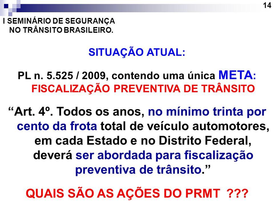 14 I SEMINÁRIO DE SEGURANÇA NO TRÂNSITO BRASILEIRO. SITUAÇÃO ATUAL: PL n. 5.525 / 2009, contendo uma única META : FISCALIZAÇÃO PREVENTIVA DE TRÂNSITO