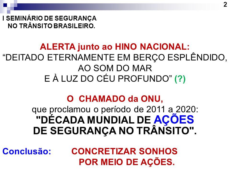 2 I SEMINÁRIO DE SEGURANÇA NO TRÂNSITO BRASILEIRO. ALERTA junto ao HINO NACIONAL: DEITADO ETERNAMENTE EM BERÇO ESPLÊNDIDO, AO SOM DO MAR E À LUZ DO CÉ