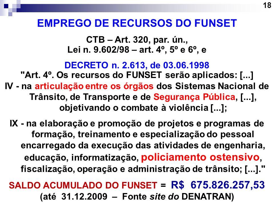 18 EMPREGO DE RECURSOS DO FUNSET CTB – Art. 320, par. ún., Lei n. 9.602/98 – art. 4º, 5º e 6º, e DECRETO n. 2.613, de 03.06.1998