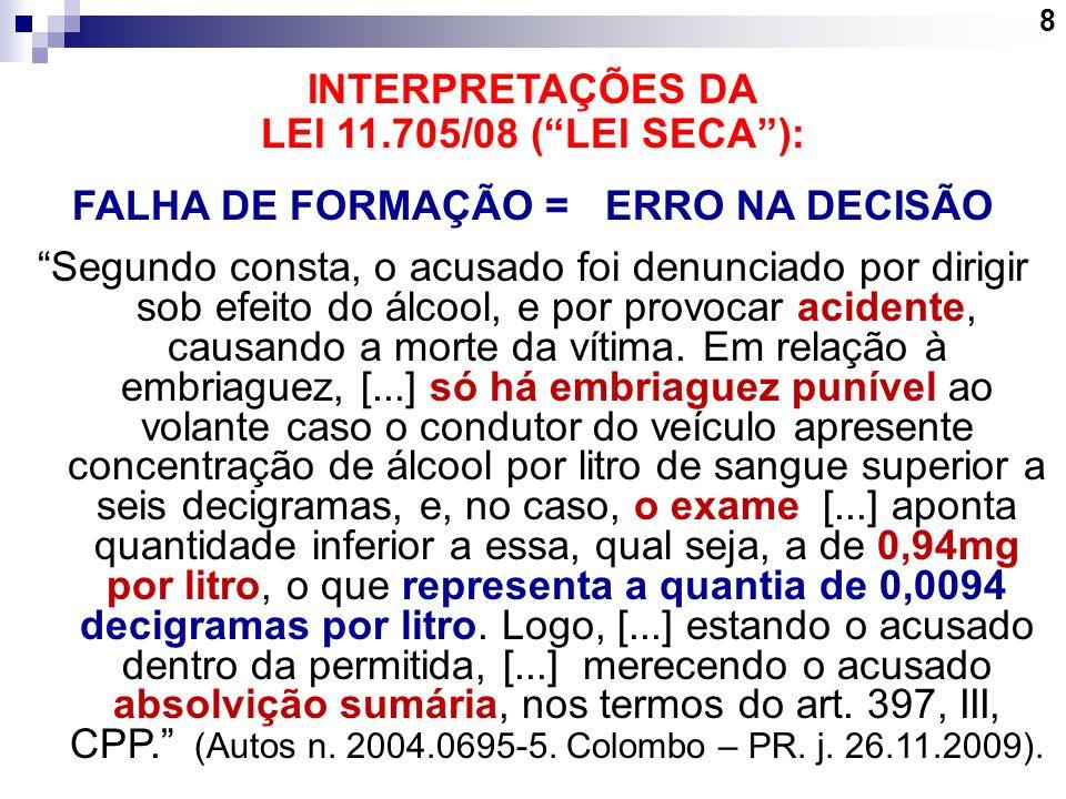 8 INTERPRETAÇÕES DA LEI 11.705/08 (LEI SECA): FALHA DE FORMAÇÃO =ERRO NA DECISÃO Segundo consta, o acusado foi denunciado por dirigir sob efeito do ál