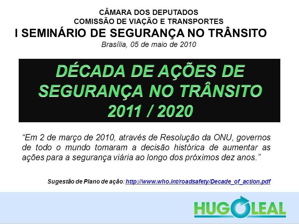 CÂMARA DOS DEPUTADOS COMISSÃO DE VIAÇÃO E TRANSPORTES I SEMINÁRIO DE SEGURANÇA NO TRÂNSITO Brasília, 05 de maio de 2010 Em 2 de março de 2010, através