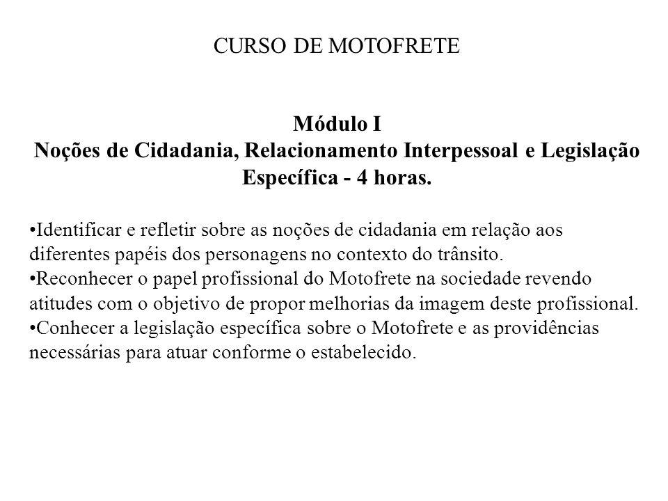Módulo I Noções de Cidadania, Relacionamento Interpessoal e Legislação Específica - 4 horas. Identificar e refletir sobre as noções de cidadania em re