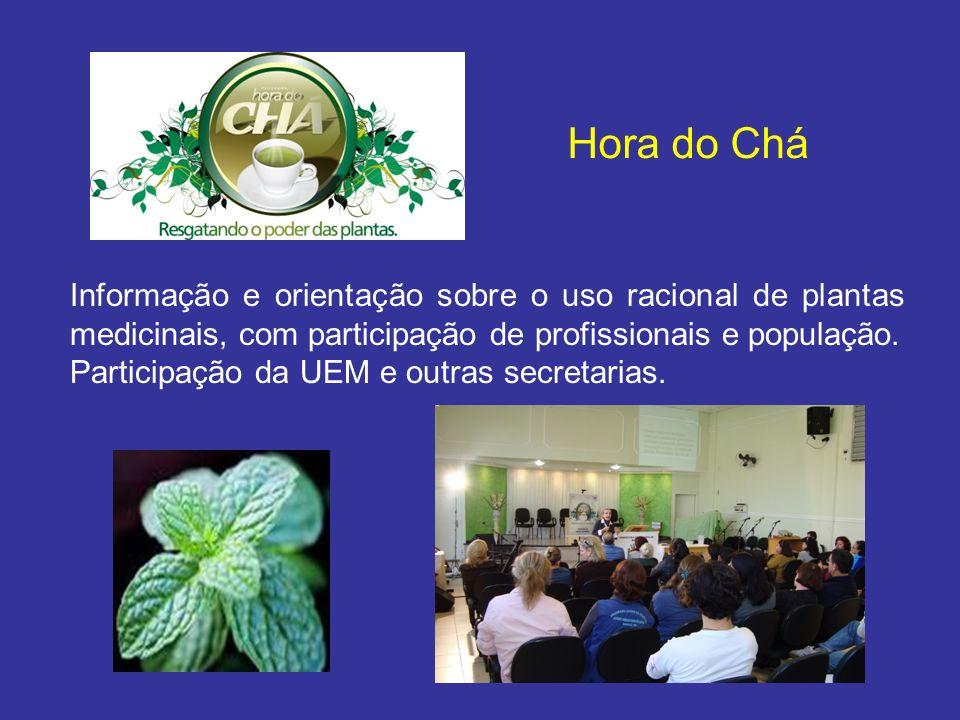 Informação e orientação sobre o uso racional de plantas medicinais, com participação de profissionais e população. Participação da UEM e outras secret
