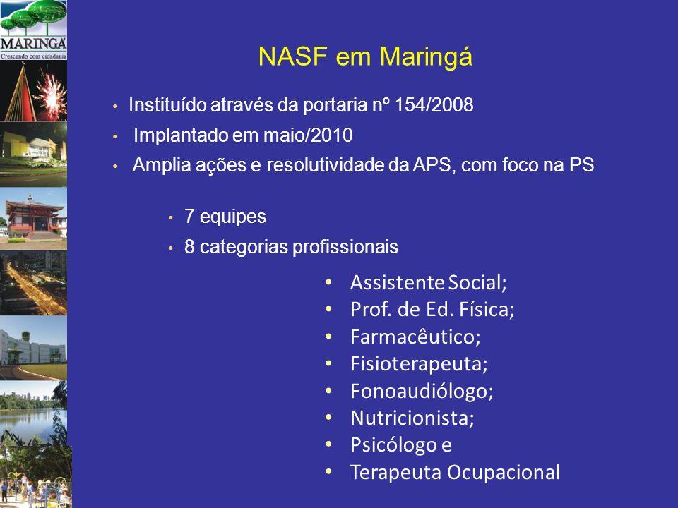 7 equipes 8 categorias profissionais Assistente Social; Prof. de Ed. Física; Farmacêutico; Fisioterapeuta; Fonoaudiólogo; Nutricionista; Psicólogo e T