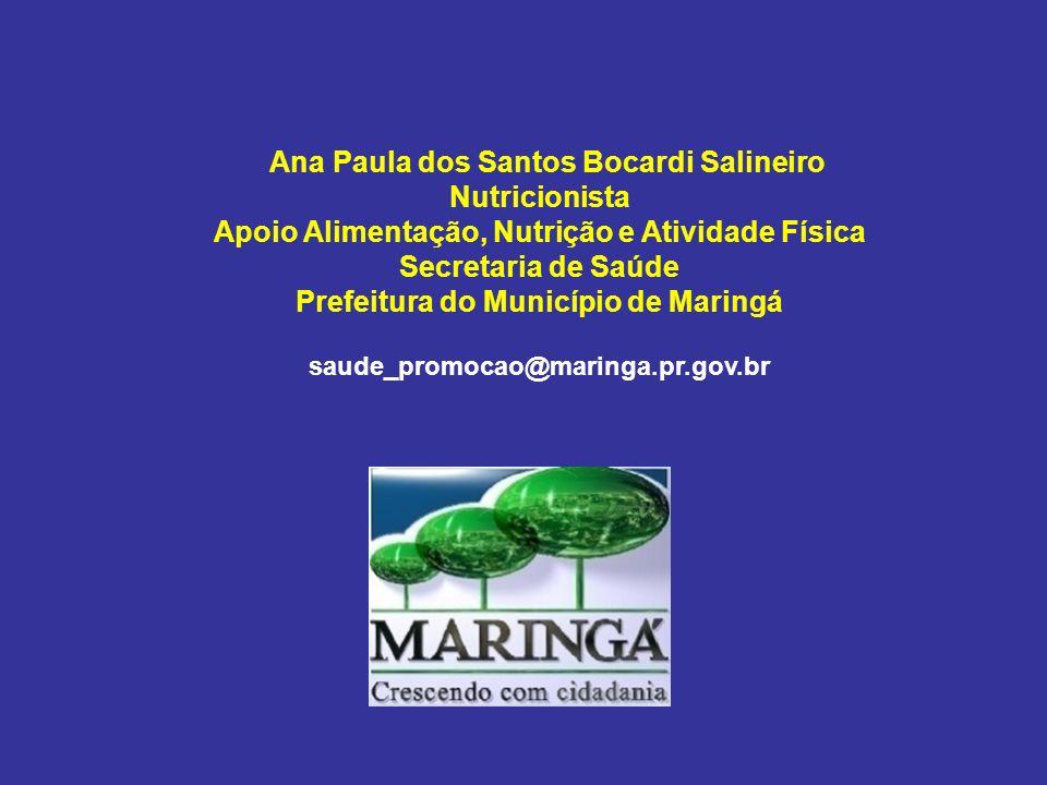 Ana Paula dos Santos Bocardi Salineiro Nutricionista Apoio Alimentação, Nutrição e Atividade Física Secretaria de Saúde Prefeitura do Município de Mar