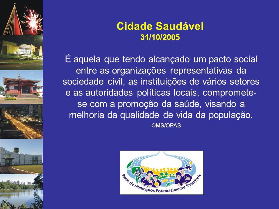 Cidade Saudável 31/10/2005 OMS/OPAS É aquela que tendo alcançado um pacto social entre as organizações representativas da sociedade civil, as institui