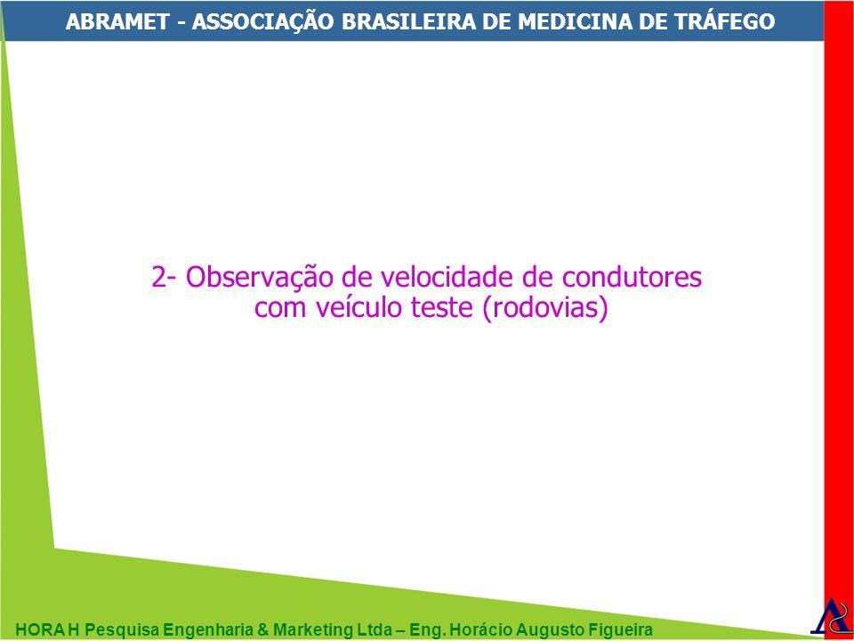 HORA H Pesquisa Engenharia & Marketing Ltda – Eng. Horácio Augusto Figueira ABRAMET - ASSOCIAÇÃO BRASILEIRA DE MEDICINA DE TRÁFEGO 2- Observação de ve