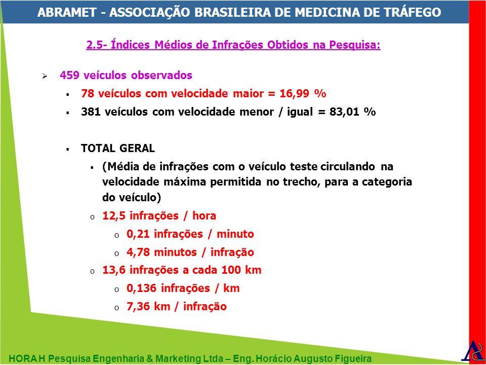 HORA H Pesquisa Engenharia & Marketing Ltda – Eng. Horácio Augusto Figueira ABRAMET - ASSOCIAÇÃO BRASILEIRA DE MEDICINA DE TRÁFEGO 2.5- Índices Médios