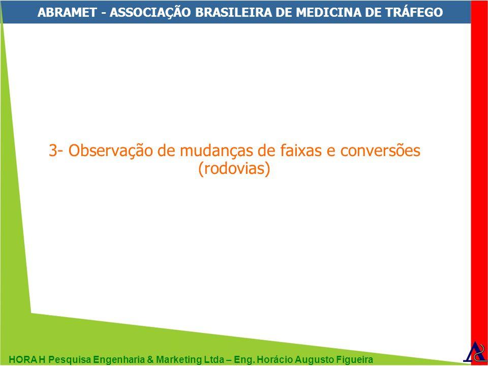 HORA H Pesquisa Engenharia & Marketing Ltda – Eng. Horácio Augusto Figueira ABRAMET - ASSOCIAÇÃO BRASILEIRA DE MEDICINA DE TRÁFEGO 3- Observação de mu