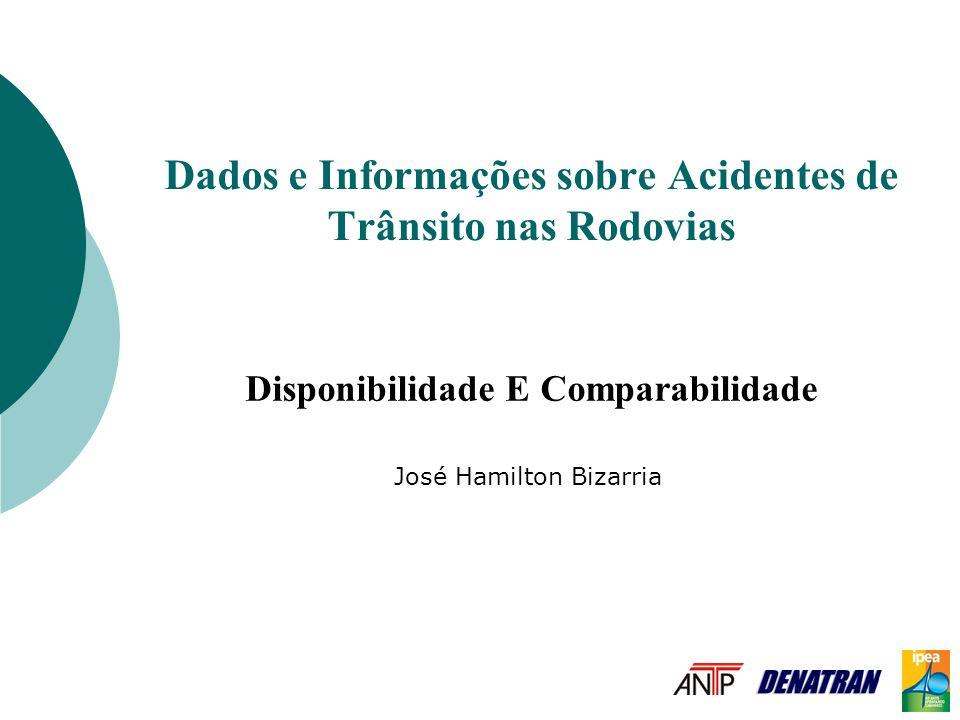Dados e Informações sobre Acidentes de Trânsito nas Rodovias Disponibilidade E Comparabilidade José Hamilton Bizarria