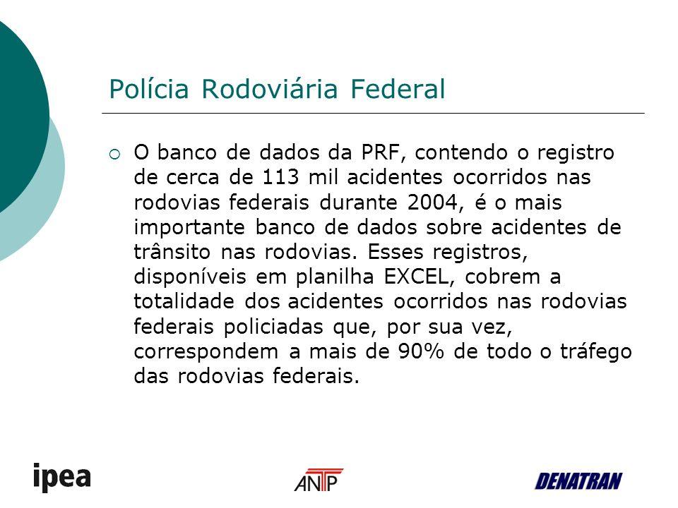 Polícia Rodoviária Federal O banco de dados da PRF, contendo o registro de cerca de 113 mil acidentes ocorridos nas rodovias federais durante 2004, é o mais importante banco de dados sobre acidentes de trânsito nas rodovias.