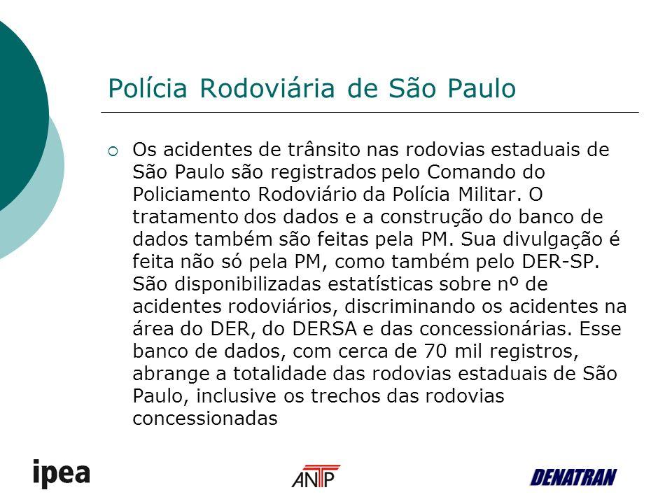 Polícia Rodoviária de São Paulo Os acidentes de trânsito nas rodovias estaduais de São Paulo são registrados pelo Comando do Policiamento Rodoviário da Polícia Militar.
