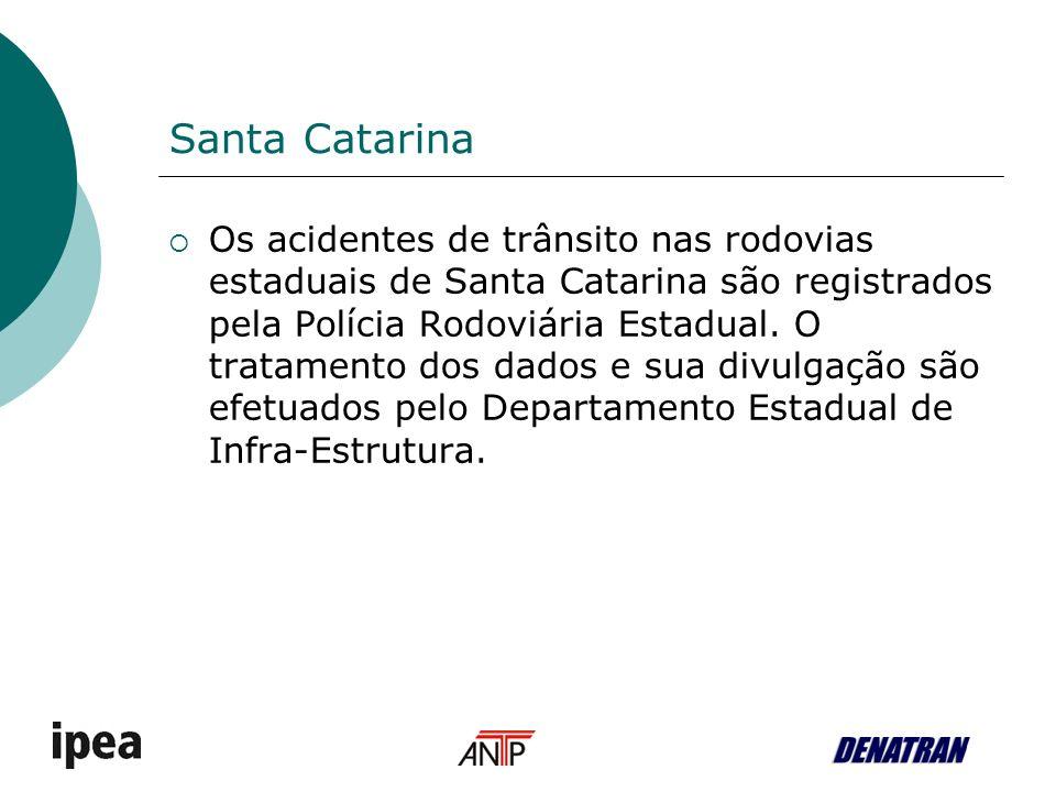 Santa Catarina Os acidentes de trânsito nas rodovias estaduais de Santa Catarina são registrados pela Polícia Rodoviária Estadual.