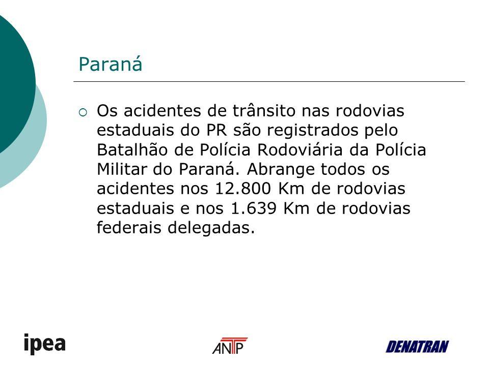 Paraná Os acidentes de trânsito nas rodovias estaduais do PR são registrados pelo Batalhão de Polícia Rodoviária da Polícia Militar do Paraná.