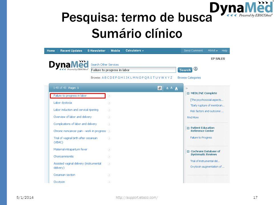 Pesquisa: termo de busca Sumário clínico http://support.ebsco.com/5/1/201417