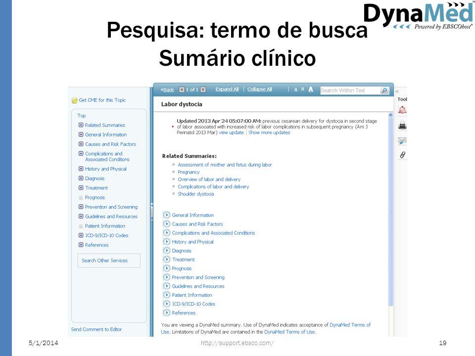 Pesquisa: termo de busca Sumário clínico http://support.ebsco.com/5/1/201419