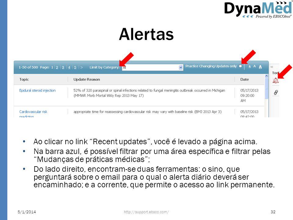 Alertas http://support.ebsco.com/5/1/201432 Ao clicar no link Recent updates, você é levado a página acima. Na barra azul, é possível filtrar por uma