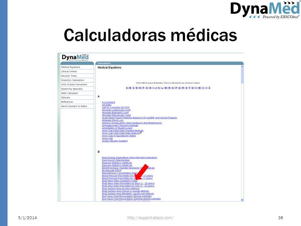 Calculadoras médicas http://support.ebsco.com/5/1/201436