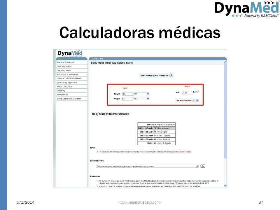 Calculadoras médicas http://support.ebsco.com/5/1/201437