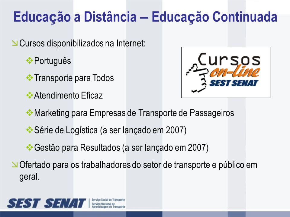 Cursos disponibilizados na Internet: Português Transporte para Todos Atendimento Eficaz Marketing para Empresas de Transporte de Passageiros Série de