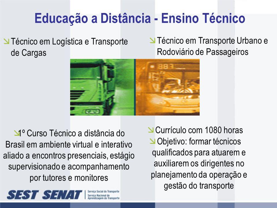 Educação a Distância - Ensino Técnico Técnico em Logística e Transporte de Cargas Técnico em Transporte Urbano e Rodoviário de Passageiros Currículo c