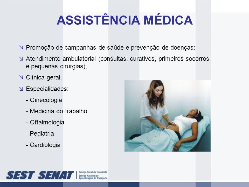 Promoção de campanhas de saúde e prevenção de doenças; Atendimento ambulatorial (consultas, curativos, primeiros socorros e pequenas cirurgias); Clíni