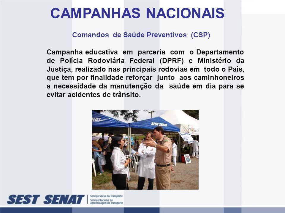 CAMPANHAS NACIONAIS Comandos de Saúde Preventivos (CSP) Campanha educativa em parceria com o Departamento de Polícia Rodoviária Federal (DPRF) e Minis