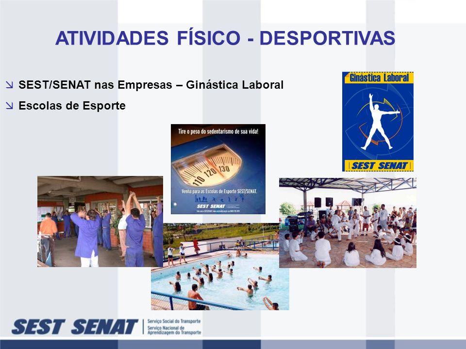 SEST/SENAT nas Empresas – Ginástica Laboral Escolas de Esporte ATIVIDADES FÍSICO - DESPORTIVAS