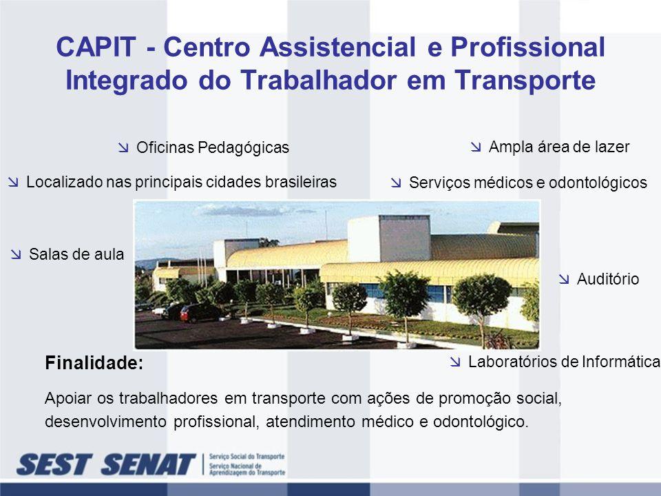 CAPIT - Centro Assistencial e Profissional Integrado do Trabalhador em Transporte Localizado nas principais cidades brasileiras Finalidade: Apoiar os