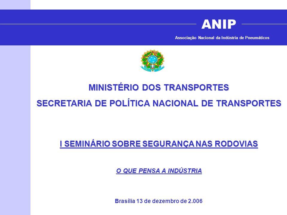 ANIP Associação Nacional da Indústria de Pneumáticos MINISTÉRIO DOS TRANSPORTES SECRETARIA DE POLÍTICA NACIONAL DE TRANSPORTES I SEMINÁRIO SOBRE SEGUR