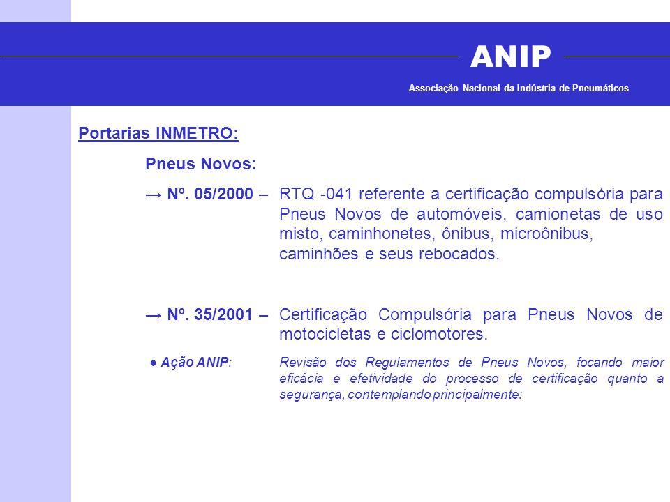 ANIP Associação Nacional da Indústria de Pneumáticos Portarias INMETRO: Pneus Novos: Nº. 05/2000 – RTQ -041 referente a certificação compulsória para