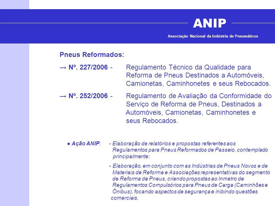 ANIP Associação Nacional da Indústria de Pneumáticos Pneus Reformados: Nº. 227/2006 - Regulamento Técnico da Qualidade para Reforma de Pneus Destinado