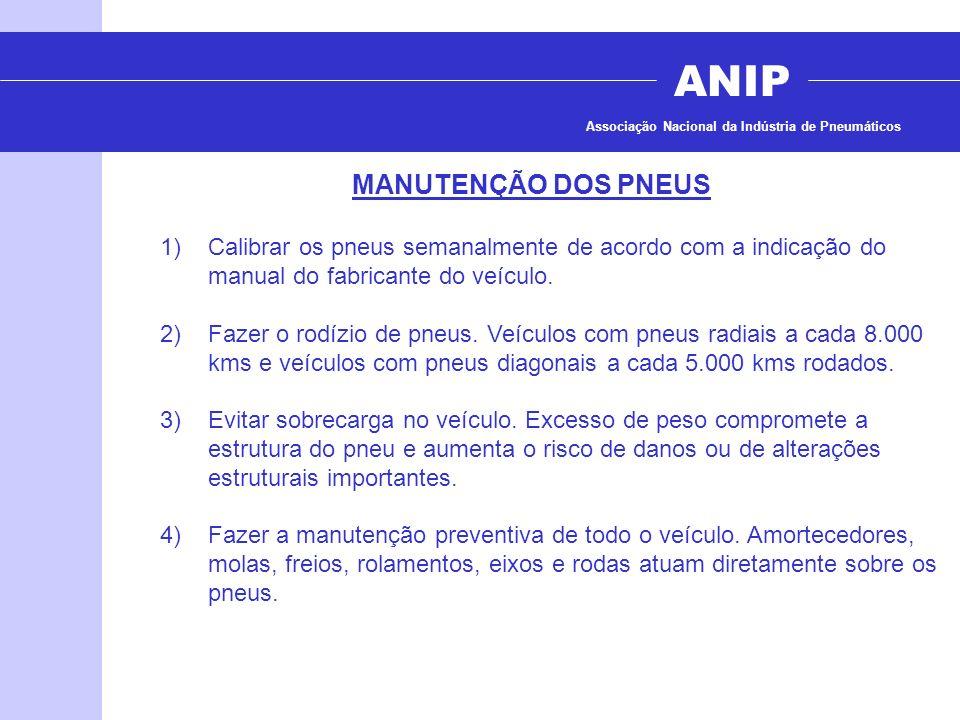 ANIP Associação Nacional da Indústria de Pneumáticos MANUTENÇÃO DOS PNEUS 1)Calibrar os pneus semanalmente de acordo com a indicação do manual do fabr