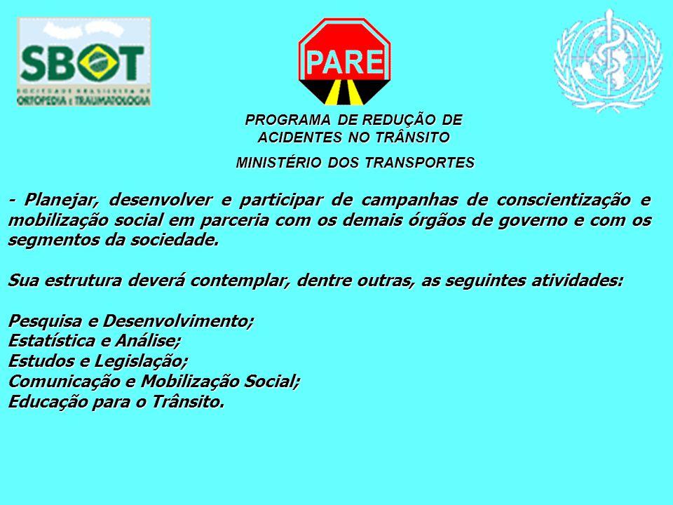 PROGRAMA DE REDUÇÃO DE ACIDENTES NO TRÂNSITO MINISTÉRIO DOS TRANSPORTES MINISTÉRIO DOS TRANSPORTES - Planejar, desenvolver e participar de campanhas d
