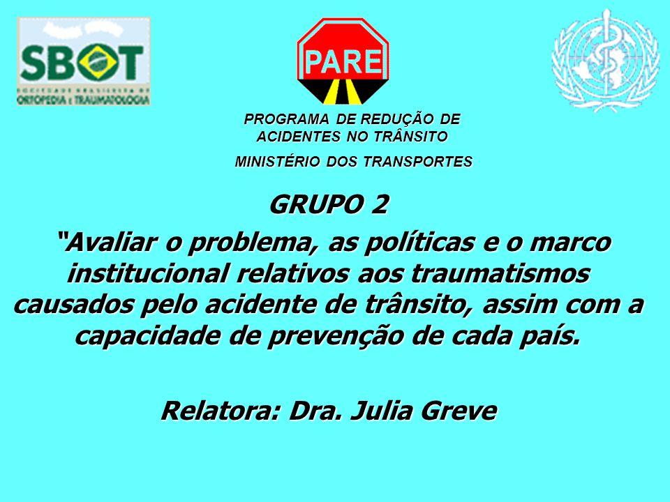 PROGRAMA DE REDUÇÃO DE ACIDENTES NO TRÂNSITO MINISTÉRIO DOS TRANSPORTES MINISTÉRIO DOS TRANSPORTES GRUPO 2 Avaliar o problema, as políticas e o marco