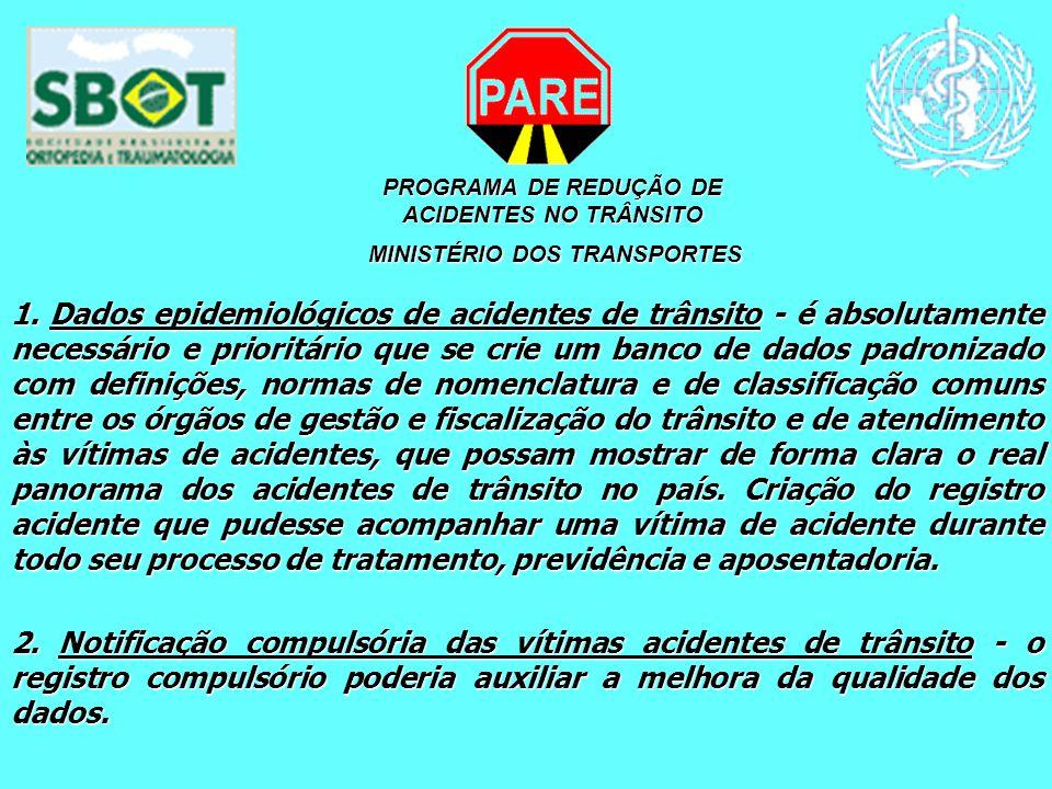 PROGRAMA DE REDUÇÃO DE ACIDENTES NO TRÂNSITO MINISTÉRIO DOS TRANSPORTES MINISTÉRIO DOS TRANSPORTES 1. Dados epidemiológicos de acidentes de trânsito -
