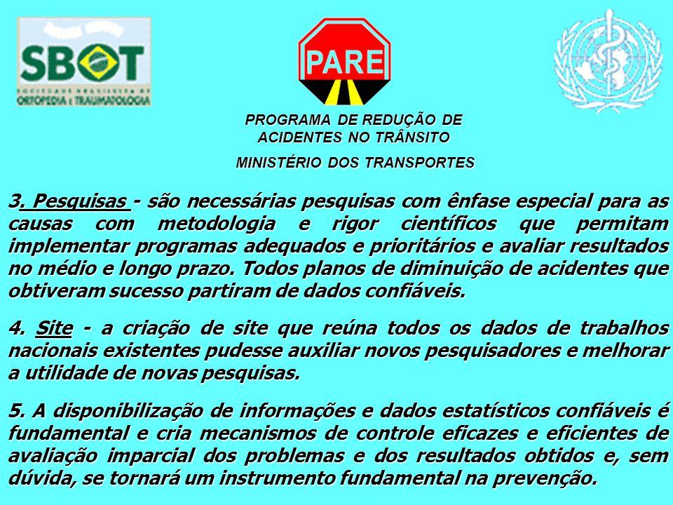 PROGRAMA DE REDUÇÃO DE ACIDENTES NO TRÂNSITO MINISTÉRIO DOS TRANSPORTES MINISTÉRIO DOS TRANSPORTES 3. Pesquisas - são necessárias pesquisas com ênfase