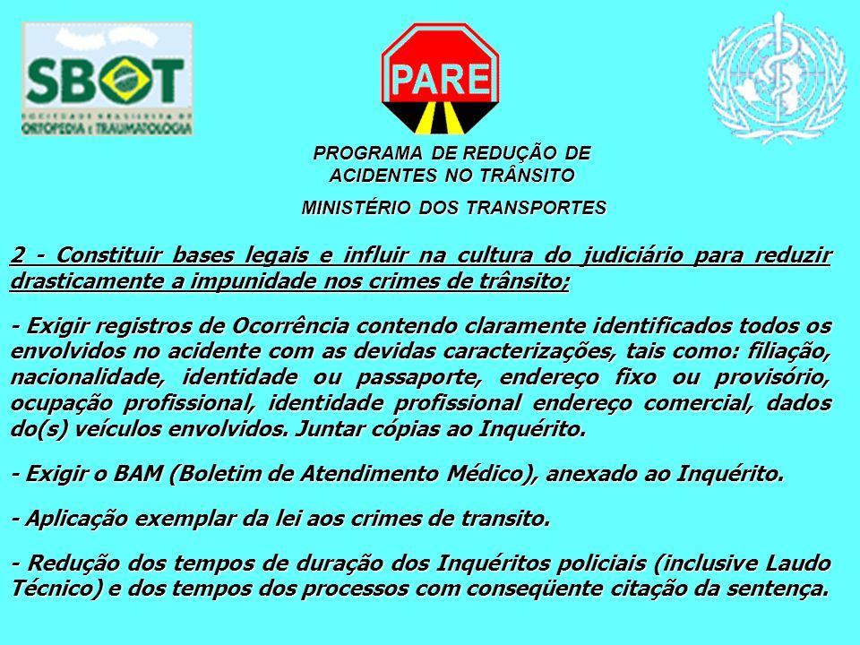 PROGRAMA DE REDUÇÃO DE ACIDENTES NO TRÂNSITO MINISTÉRIO DOS TRANSPORTES MINISTÉRIO DOS TRANSPORTES 2 - Constituir bases legais e influir na cultura do