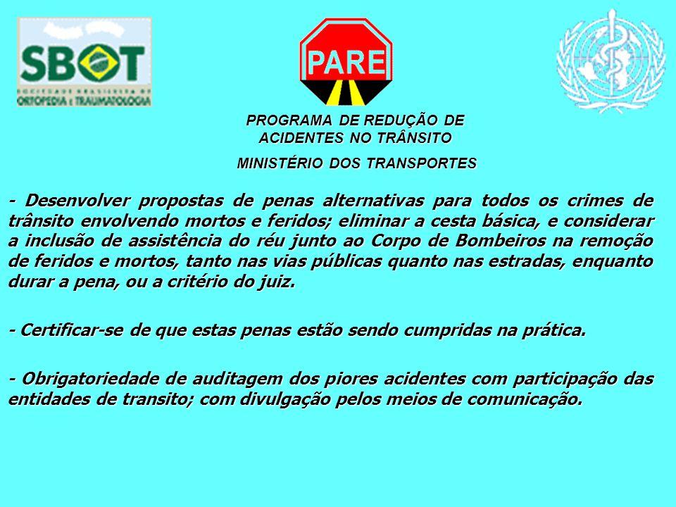 PROGRAMA DE REDUÇÃO DE ACIDENTES NO TRÂNSITO MINISTÉRIO DOS TRANSPORTES MINISTÉRIO DOS TRANSPORTES - Desenvolver propostas de penas alternativas para