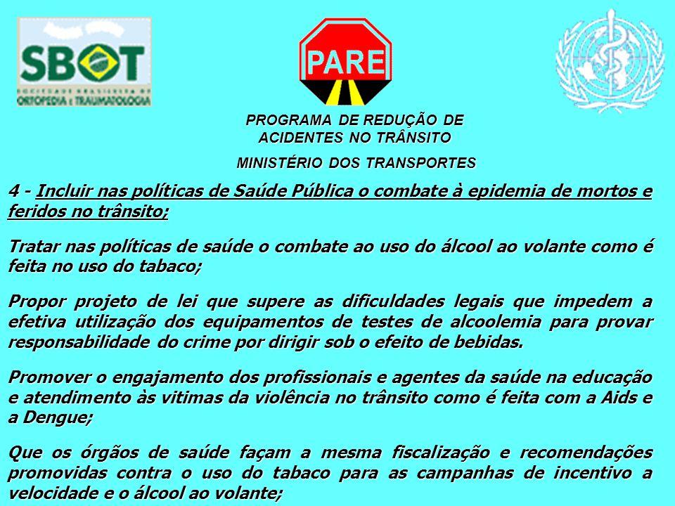PROGRAMA DE REDUÇÃO DE ACIDENTES NO TRÂNSITO MINISTÉRIO DOS TRANSPORTES MINISTÉRIO DOS TRANSPORTES 4 - Incluir nas políticas de Saúde Pública o combat