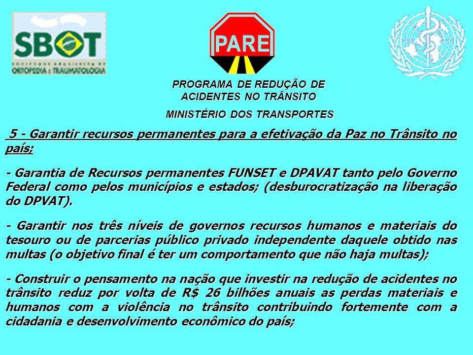 PROGRAMA DE REDUÇÃO DE ACIDENTES NO TRÂNSITO MINISTÉRIO DOS TRANSPORTES MINISTÉRIO DOS TRANSPORTES 5 - Garantir recursos permanentes para a efetivação