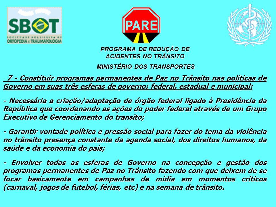 PROGRAMA DE REDUÇÃO DE ACIDENTES NO TRÂNSITO MINISTÉRIO DOS TRANSPORTES MINISTÉRIO DOS TRANSPORTES 7 - Constituir programas permanentes de Paz no Trân